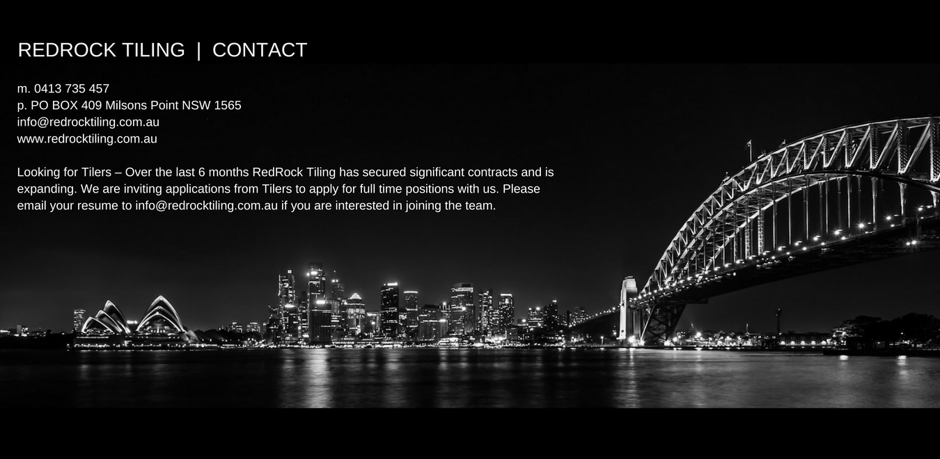 CONTACT Drew Mansur, Project Manager, RedRock Tiling, Commercial Sydney Tiliers